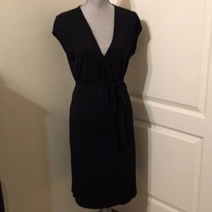 Black Cap Sleeve Wrap Dress